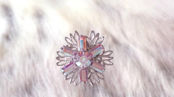 Silver Fused Floral Snowflake Filigree Earrings Swarovski Crystal AB Iridescent Rhinestone 18mm Titanium Post Minimalist Stud Ladies Gift