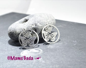 Set of 2 charms / pendants / charms round watermark/stamp REF:2 stainless steel Butterfly motif / 219