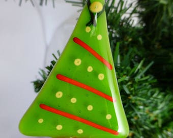 Fused Glass Green Christmas Tree with festive decoration