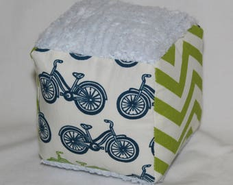 Organic Blue and Green Bicycles Fabric Block Rattle Toy