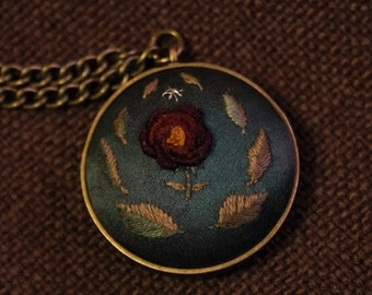 Hand Embroidered Pendant - Green Floral