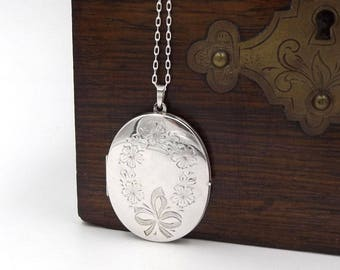 Large Sterling Silver Locket Pendant | Oval Engraved Photo Locket Necklace On A Chain