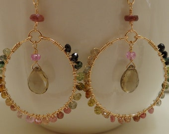 tourmaline wire wrapped hoops beer quartz briolette dangle gold fill