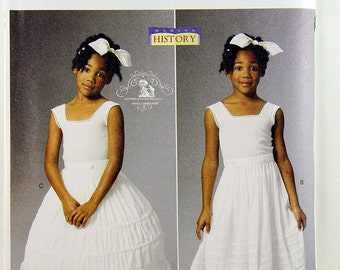 Butterick 5901, Girls' Historical Costume Pattern, Drawers, Underskirt and Hoop Skirt Pattern, Civil War Costume Pattern, Sizes 6,7,8, Uncut