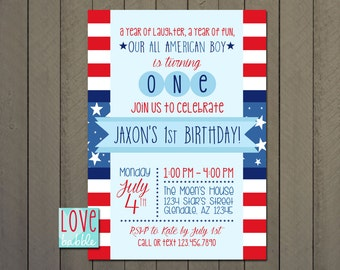Fourth of July, July 4th, Memorial Day, Labor Day, All American Patriotic First Birthday Invitation PRINTABLE DIGITAL FILE 5x7