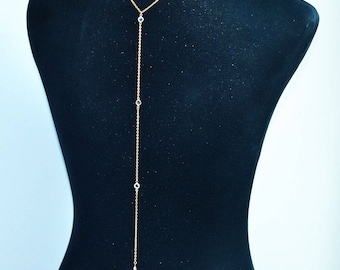 clear beaded gold necklace delicate long chain latest trend necklace