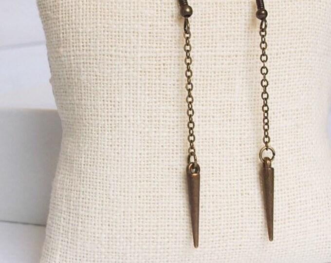 Bronze Athena Drop Earrings, Dangle Earrings, Spike Jewelry, Boho Jewelry, Bronze Earrings