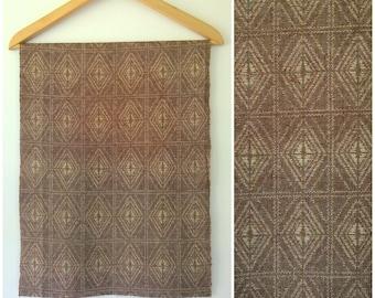 Vintage Mawata Tsumugi Silk Kimono Fabric Brown Cream Woven Rhombus