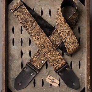 """Canyon Deuce Series 2"""" black and tan paisley guitar strap"""