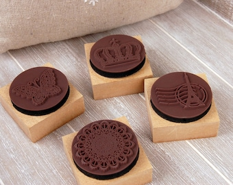 Wooden Rubber Stamp Set - Rubber Stamp Set - Lace Stamp Set - Stamps - 4 pcs