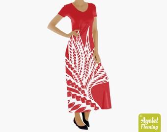 Hawaiian Polynesian Floral Short Sleeve Long Dress, Polynesian Tribal Red White Frock for Women