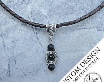Mens Custom Handcrafted Natural Stone Black Onyx Bead Antique Silver Stud Pendant Genuine Braided Bolo Leather Cord Necklace