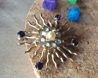 Beautiful High Quality Vintage Sun Brooch Pin
