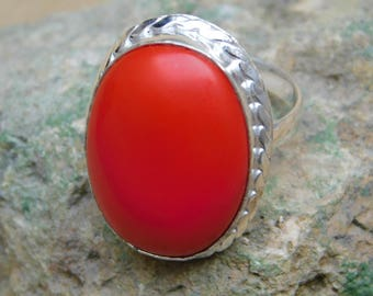 Coral Ring-925 Sterling silver Ring-Coral Oval 17x24mm Micron Silver Plated Ring-Silver Ring