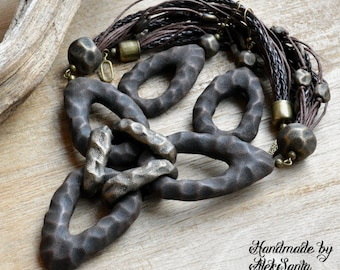 African jewelry African necklace Brown jewelry Brown necklace Boho jewelry Boho necklace Boho earrings Polymer clay jewelry Coffee gift