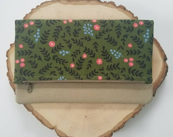"The ""Kate"" fold over clutch, floral zipper pouch, Dark green Floral, rosebud"