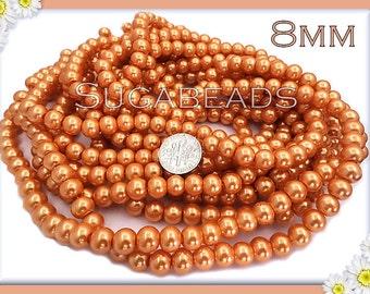 50 Orange Round Glass Pearl Beads 8mm, Orange Glass Pearls