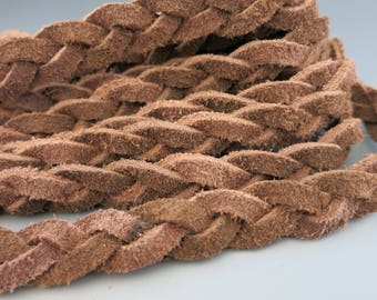 Flat Braided Split Suede, 3 Ply Red Brown, 11mmx3mm, By the Inch, Bracelet Suede, Suede Cord, Ready to Ship