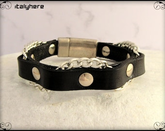 Men's bracelet, black leather with interlaced chain