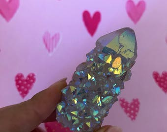 Large and Rare lilac grape Angel Aura Spirit Quartz Rainbow Crystal Cactus Cluster #103