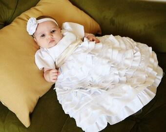 Baptism dress/Christening dress/Blessing dress/Newborn dress/baby girl dress/baptism gown/lace dress/ruffled dress/ Caroline Dress-0-18 mo.