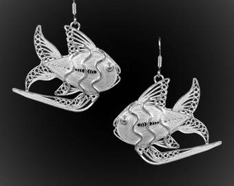 Embroidered silver fin earrings