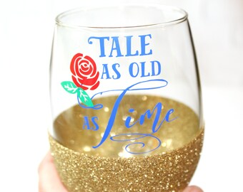 Beauty and the Beast Wedding / Romantic Gift / Belle Wine Glass / Enchanted Rose / Tale as Old As Time / Bridal Shower Gift / Gift for Wife