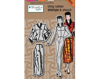 Stampendous Fashion Dame Rubber Cling Stamp & Stencil Set NKCRS07 4 pc Sewing Scrapbooking Journaling Paper Craft Tool New In Package