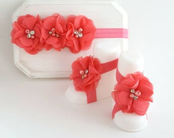 Coral Barefoot Baby Sandals - Baby Girl Sandals - Barefoot Sandals - Coral Headband - Infant Headband - Newborn Headband - Baby Sandals