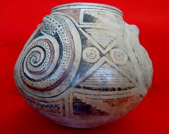 Prehistoric Native American Large ARTIFACT with EXTRUDING SNAKES Ancient Relic Native American Sculpture