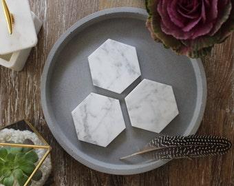 Carrara Marble Geometric Hexagon Coasters