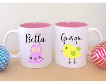 Easter mug with name cute easter gifts for kids easter gift set of two easter mugs with names cute easter gifts for kids childrens easter gift unique negle Choice Image
