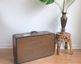 Large Suitcase Tweed Luggage Dresner Vintage Brown Tweed Suitcase