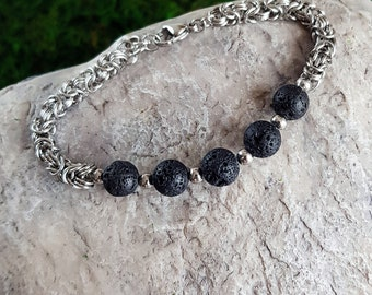 Stainless Steel Chainmaille Bracelet with volcanic lava beads