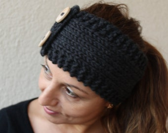 Under 25 Womens Winter Accessories - Hand Knitted Headband Wood Button Earwarmer  Charcoal Choose Your Color