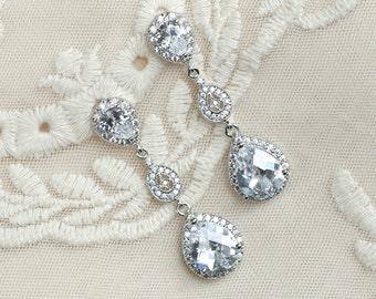 Bridal Earrings, Cubic Zirconia Long Dangle Bridal Earrings, Sparkle Stud Long Dangle Cubic Zirconia Bridal Earrings, Bridesmaids Earrings