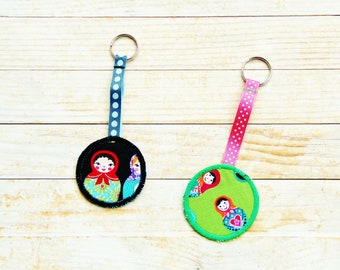 Key ring key chain key fob holder Matryoshka girl doll green black red pink blue ribbon kids kawaii Mother's Day housewarming hostess gift