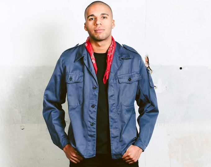 Vintage Work Jacket . Mens 80s 90s Jacket Blue Work Jacket Bomber Jacket Workwear Coach Jacket Blue Chore Coat Everyday Wear . size Large L