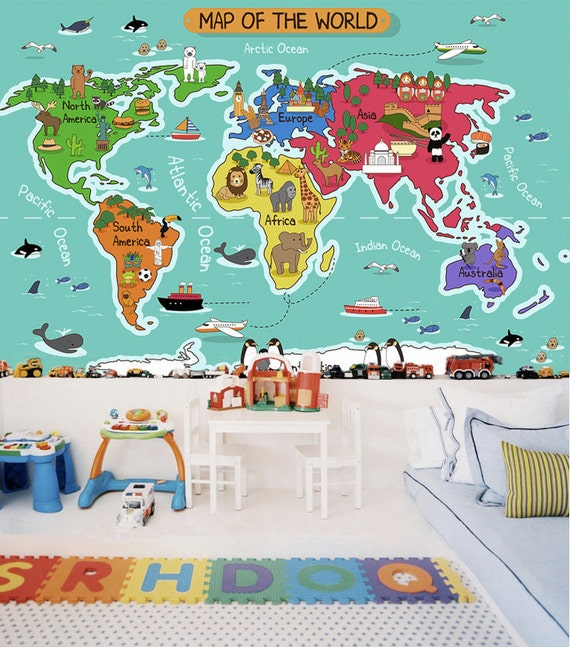 Childrens world map wallpaper removable wall mural animal childrens world map wallpaper removable wall mural animal self adhesive wall sticker childrens room ocean aqua blue turquiose wall mural gumiabroncs Image collections