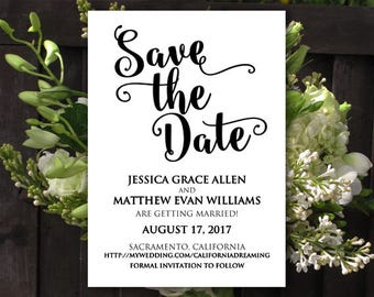 Save the Date Template - Printable STD - Save the Date Printable - Save Our Date Engagement Card - Boho Save the Date - DIY Wedding Template