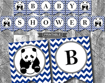 Navy Blue Panda Baby Shower Decorations Banner Digital Printable PDF Instant Download-Baby Shower
