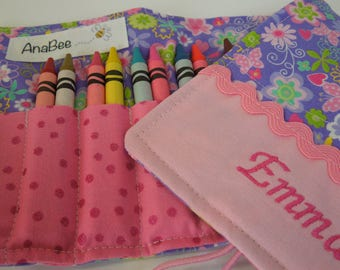 Crayon Holder - Lavender flowers and butterflies-crayons INCLUDED-12+ crayons-organizer-custom crayon roll