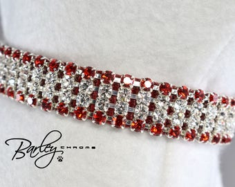 "Radiance Red II Rhinestone Dog Cat Pet Collar - 4 Row Preciosa® Light Siam & Crystal 5/8"" Wide 12"" 14"" 16"""