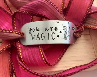 You are MAGIC ~ Hand Stamped Ribbon Wrap Bracelet