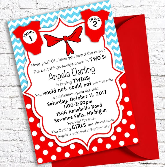 Thing 1 and Thing 2 Baby Invitation