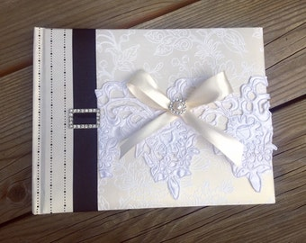Wedding Guest Book - Handmade, Black and Ivory Guest Book, Ivory Guest Book, Embossed Wedding Guest Book, Wedding Book