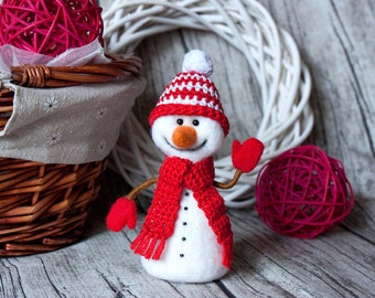 Christmas Decorations Christmas Decor Christmas Ornaments Snowman Toy Needle Felting Felt Toys Christmas Gift Gifts For Her