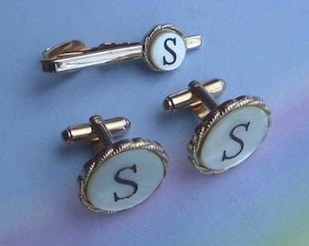 Vintage 60s MOP Gold Monogram S Initial Cufflinks Tie Clip by Shields