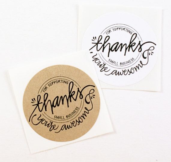 Shop exclusive thanks for supporting small business you are awesome modern calligraphy hand lettered stickers from kawaiigoodies on etsy studio