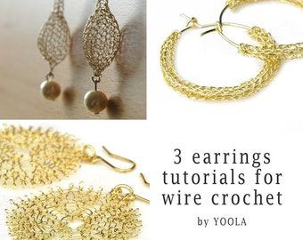 CROCHET jewelry PATTERN 3 Wire earrings PDF  tutorials  sunflower hoops drop earrings wire jewelry patterns wire work how to crochet wire